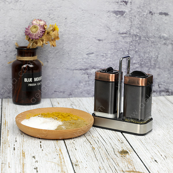 Square Glass Spice Jar With Jacket Coating Colar