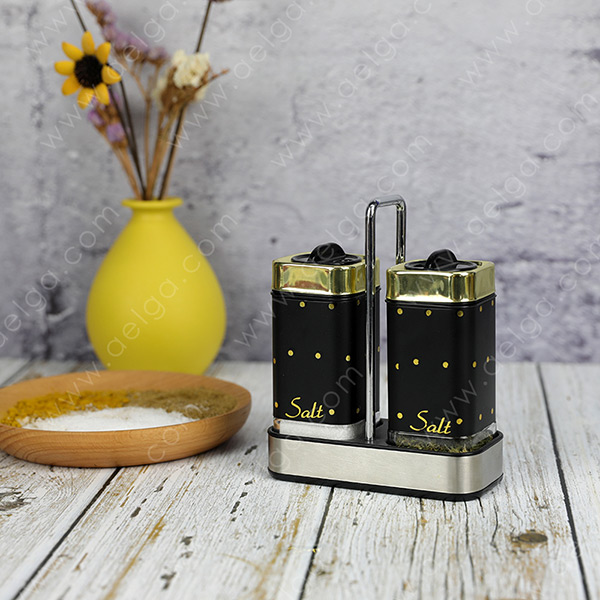 Square Glass Spice Jar With Jacket With Decal