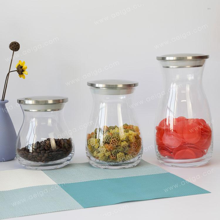 Straight Hand Made Glass Storage Jar For Spaghetti