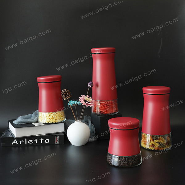 Vertical Glass Container With SS Coating Colar
