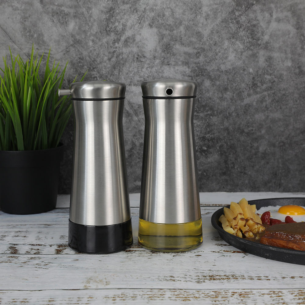 Vertical Glass Oil Container With SS Jacket For Olive Oil