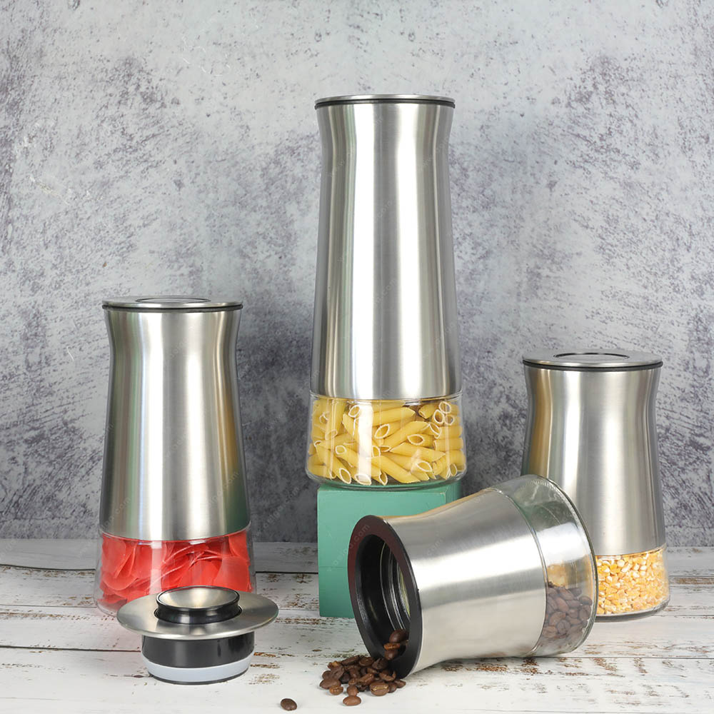 Vertical Glass Storage Jar With SS For Sugar