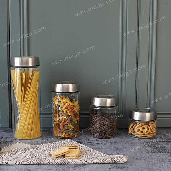 Wide Mouthed Borosilicate Glass Canister For Spaghetti