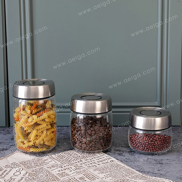 Wide Mouthed Borosilicate Glass Canister For Sugar