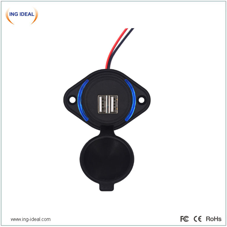 12v 4.8a Dual Usb Bus Charging Socket With Waterproof Cover
