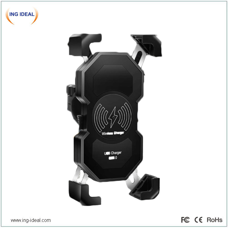 15w Fast Motorcycle Phone Holder With Wireless Charger