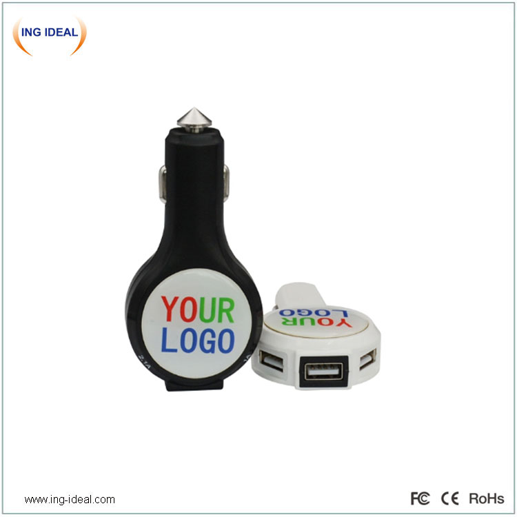 3 USB Car Mobile Charger With Hammer Function