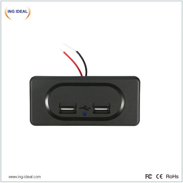Built-In 12v 24v Dc Auto 4.8A Bus Usb Socket Dual