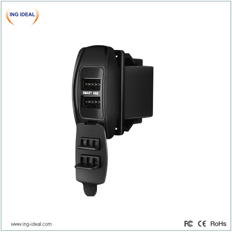 Built-In 4.8A Bus Usb Car Charger With Double-Sided Insertion Port
