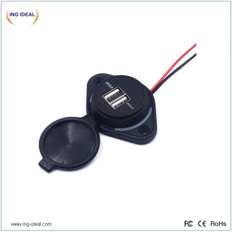 Vodotěsná sběrnice 24V QC3.0 Duální USB zásuvka pro rychlou nabíječku