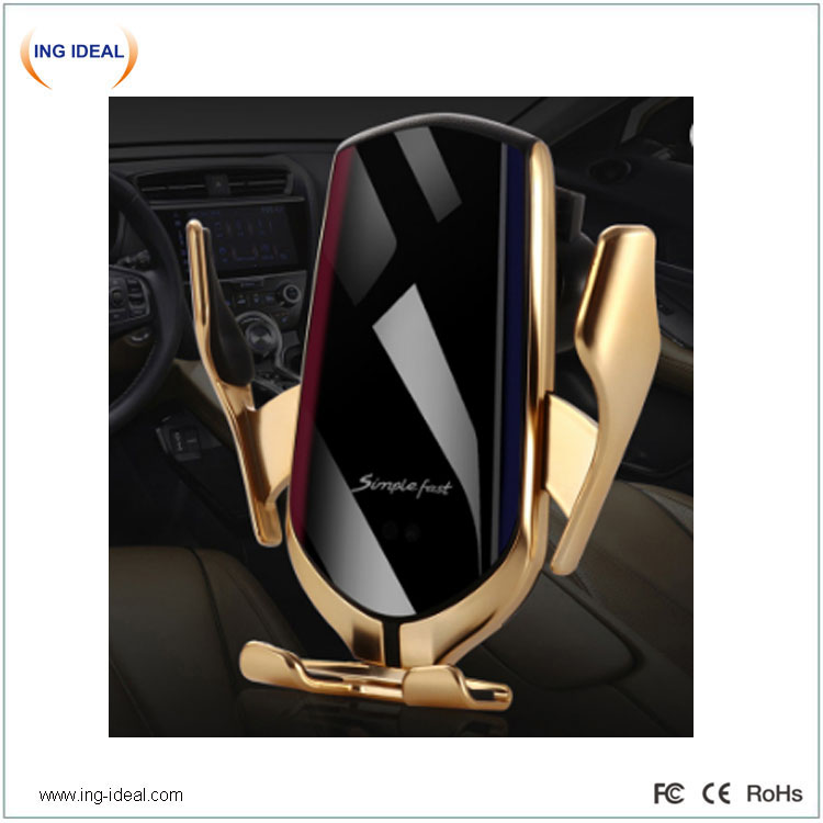 Juhtmevaba laadija auto isesulguva telefonihoidikuga