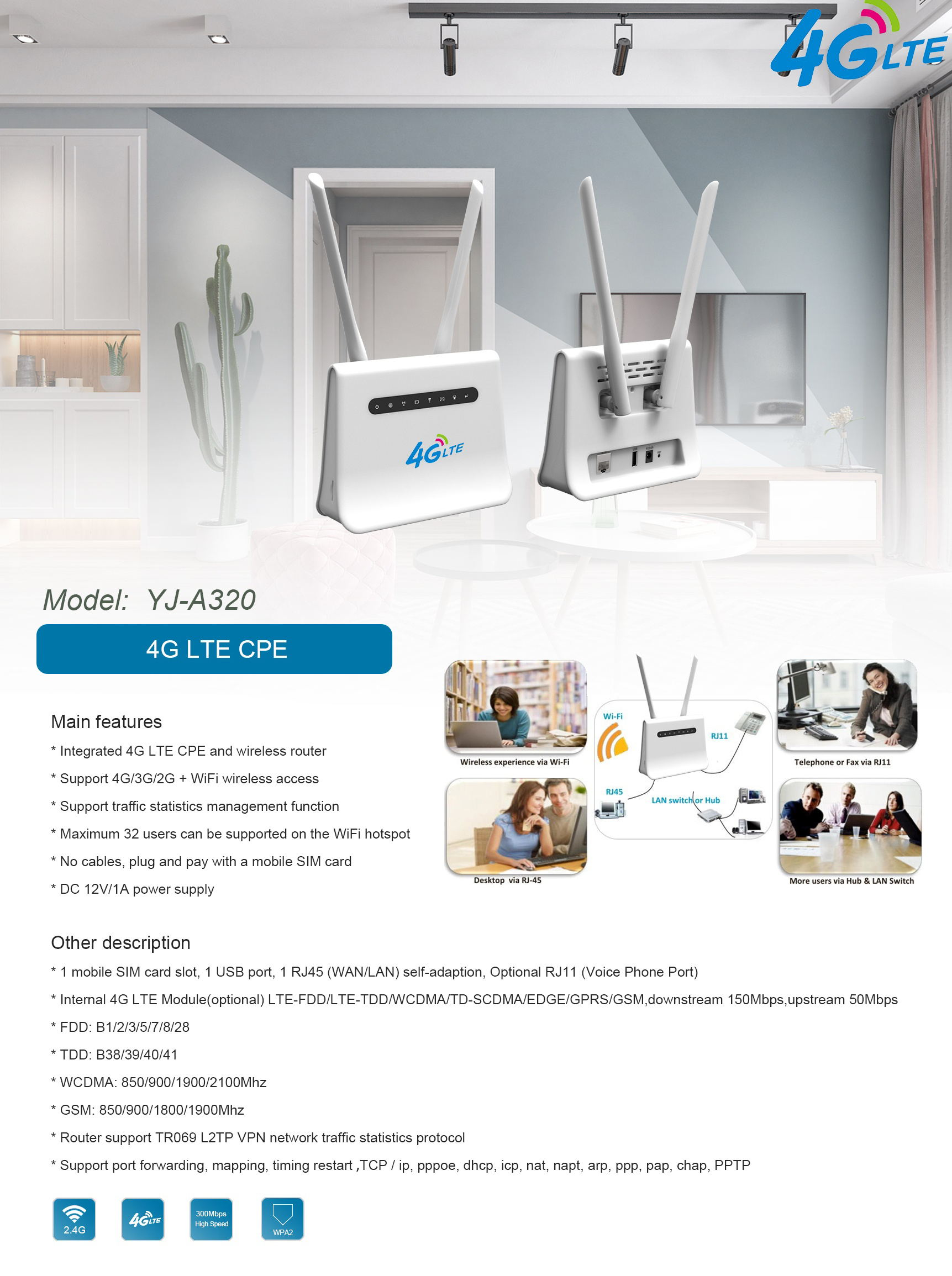 4G LTE Indoor CPE WiFi Router