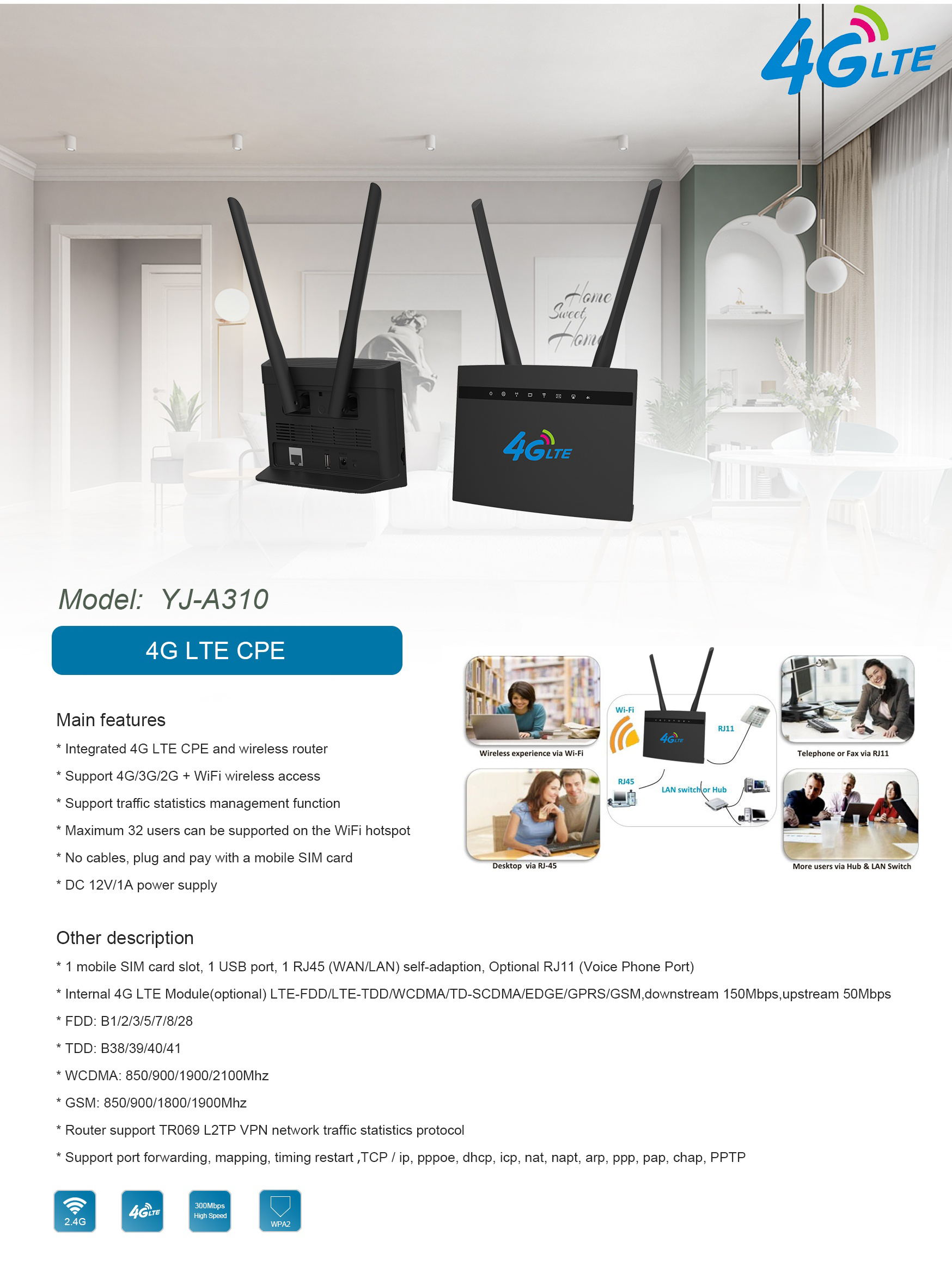 Cat4 LTE CPE 4G Wireless Router