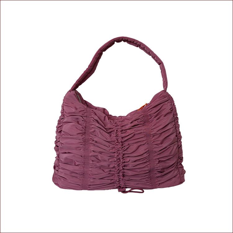 Nylon Ruched Shoulder Bag