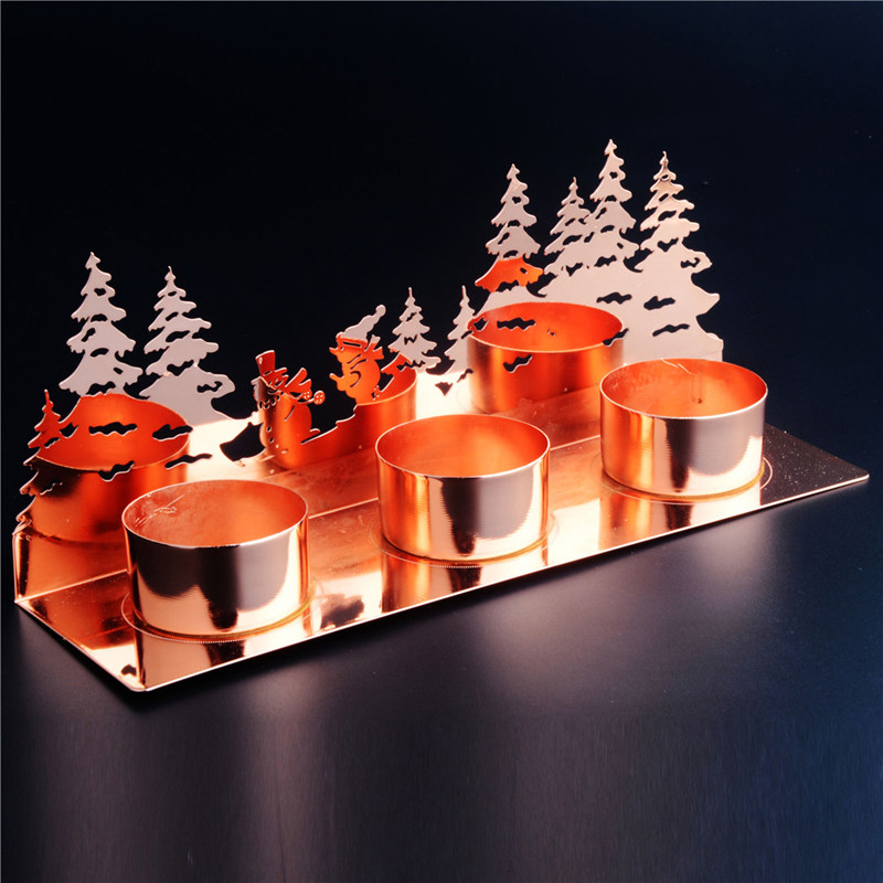 3in 1 Rose Gold Metal Candle Holder