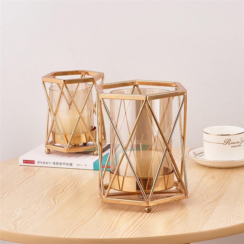 Geometric Metal Candle Holders