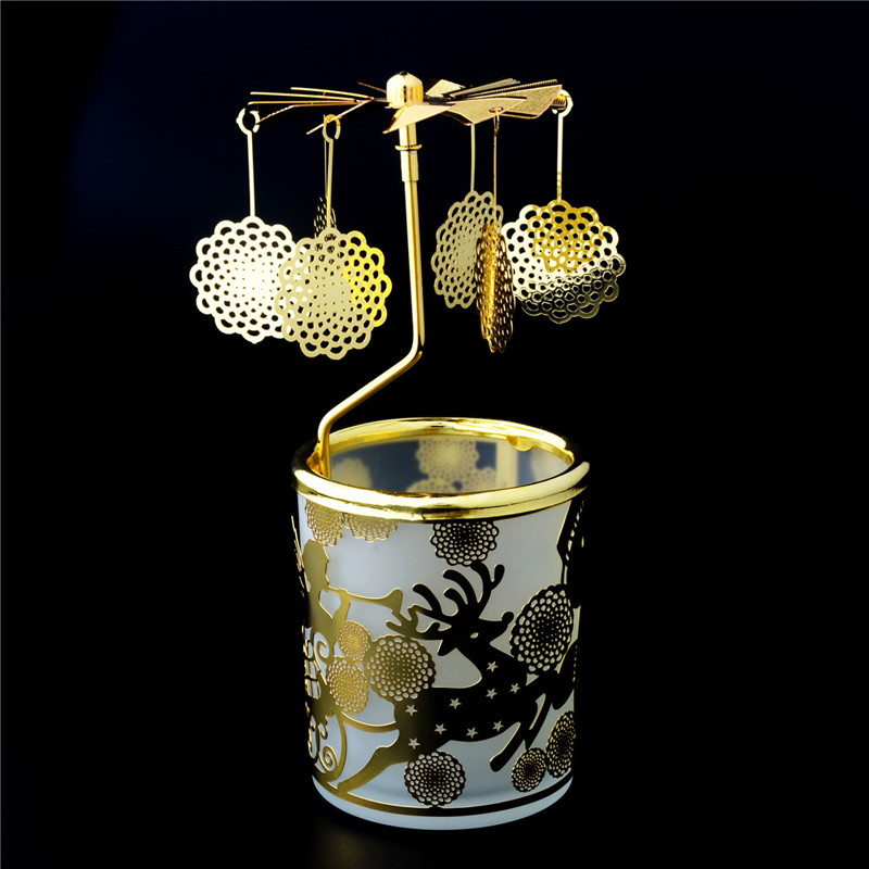 Gold Carousel Rotary Candle Holder
