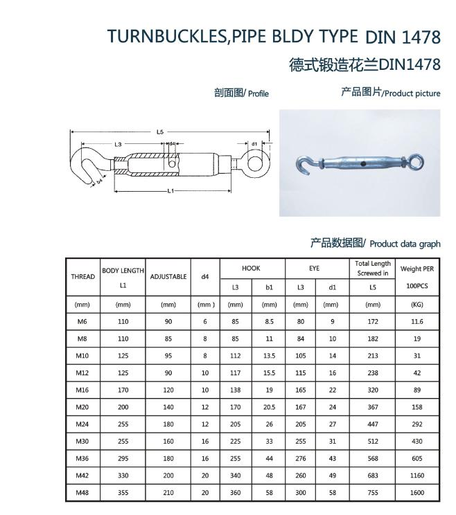 DIN 1478 Pipe Body Type Turnbuckle