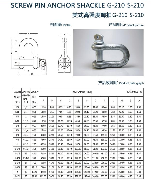 Screw Pin Anchor Shackle G210