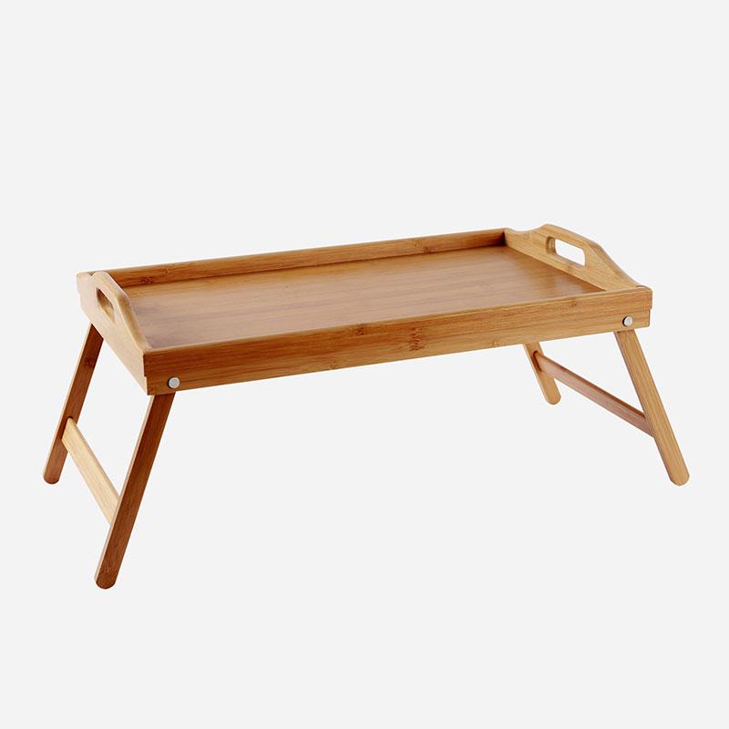 Gospodinjska bambusova posteljna miza z zložljivimi nogami