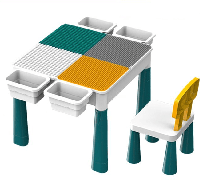 Household Blocks Table with Storage & Chair for Kids Ages 4-8 years