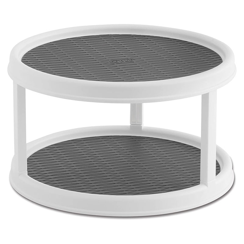 Plastic Kitchen 2-tier Pantry Cabinet Lazy Susan Turntable Storage