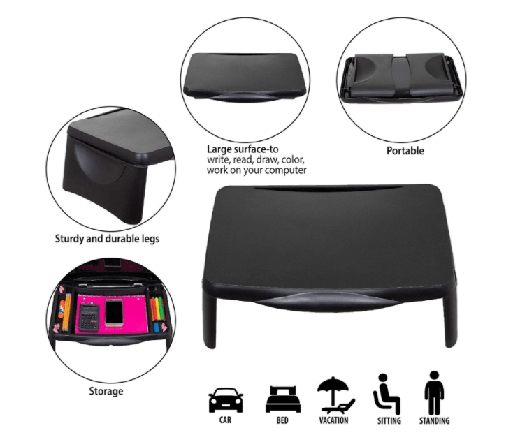 Portable and practical laptop bed table with storage