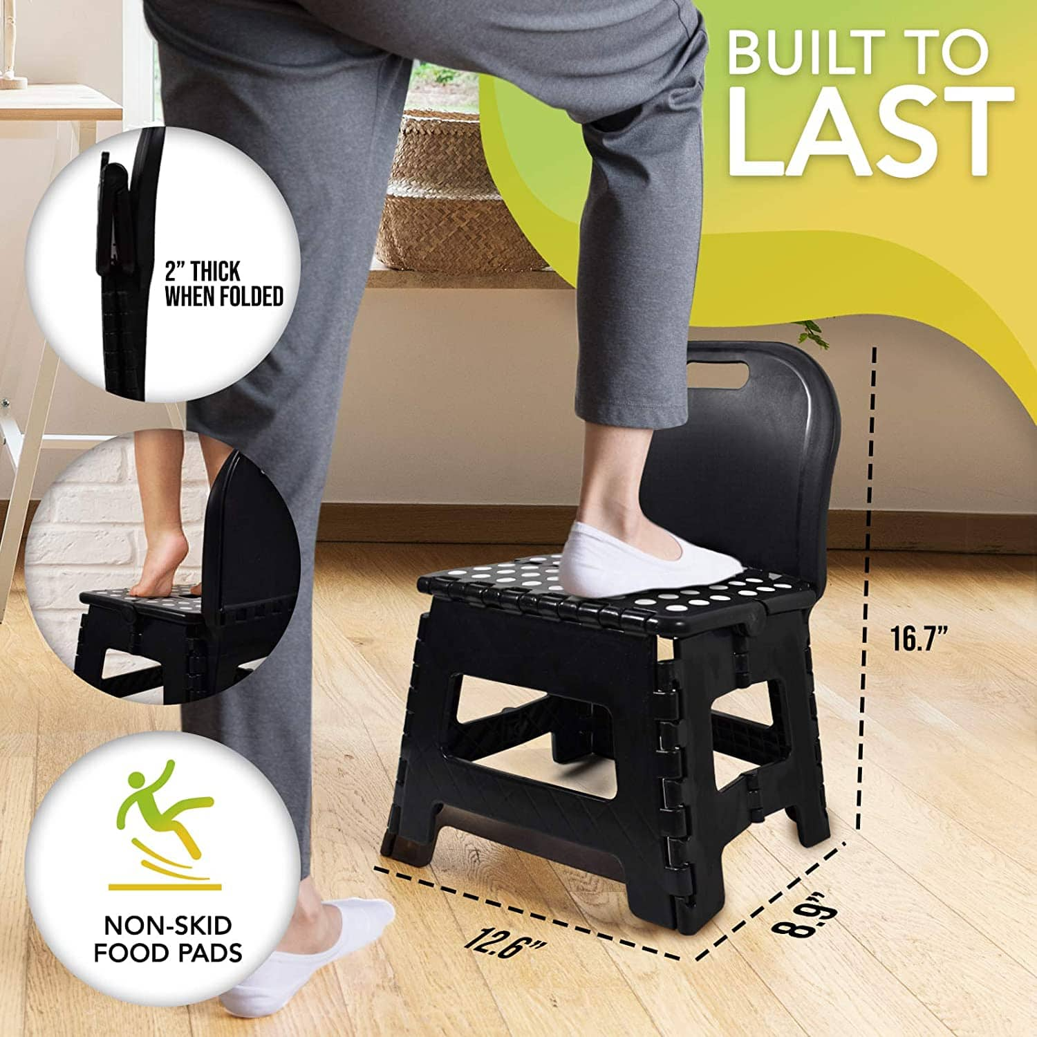 Small Collapsible Household Folding Step Stool with Back Support