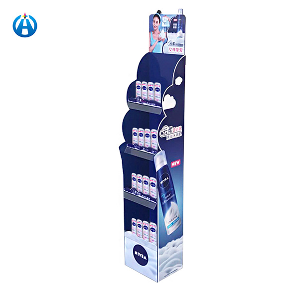 Cosmetics Promotional Cardboard Display Rack Hair Products Display Shelf