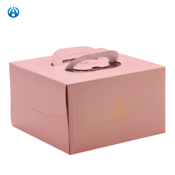 Paper Cake Box With Handle And PVC Window