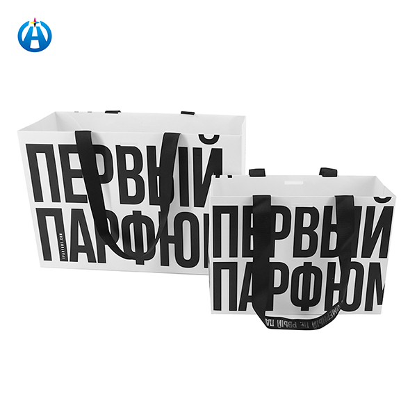Eco-friendly Fully Automatic Tote Paper Bag Glossy Paper Bag White Paper Gift Bag Rope Handle
