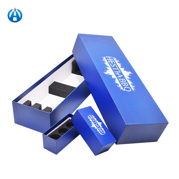 Luxury Blue Long Rectangular Gift Packaging Box for Barbecue Tool Kit