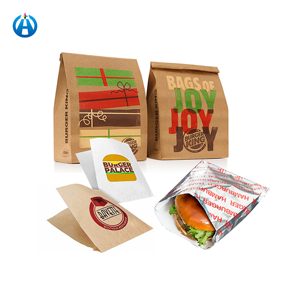 Printed Individual Wax Cookie Packaging Bag For French Fries Potato Chips Hamburger Burger Paper Bags