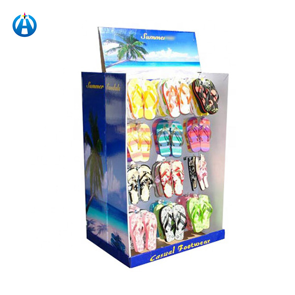 Two Sides Cardboard Hook Display Shelf for Summer Casual Footwearslippers Promotion