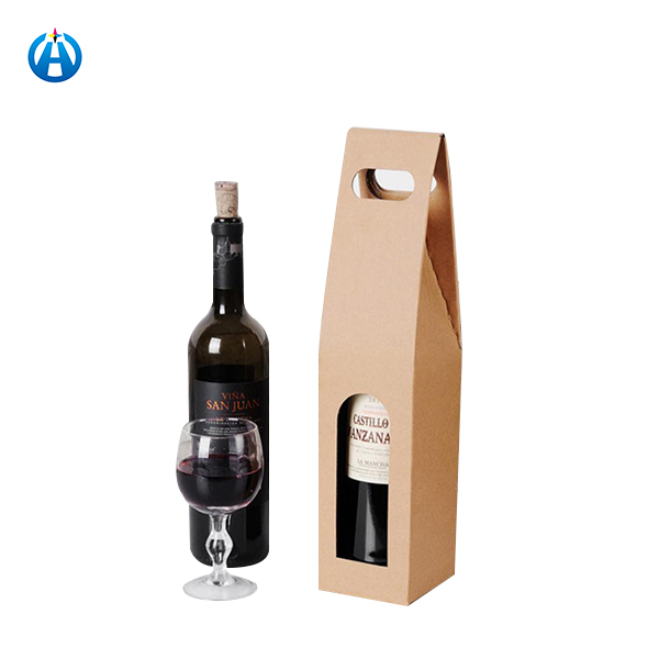 Kraft Paper 2 Ply Packing Wine Bottle Paper Gift Bag With Logo Print