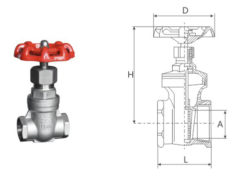 Treaded gate valve