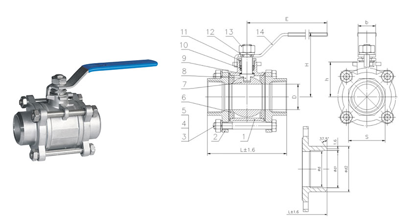 Three pieces welding pallo valve
