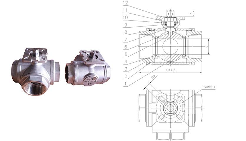 Three way ball valve with ISO5211 mounting pad