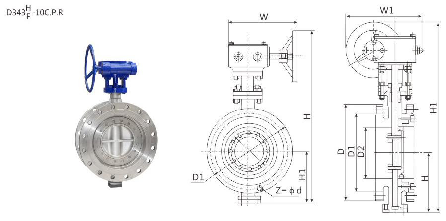 D343H Worm Gear Operated Metal Seal Flanged Butterfly Valve