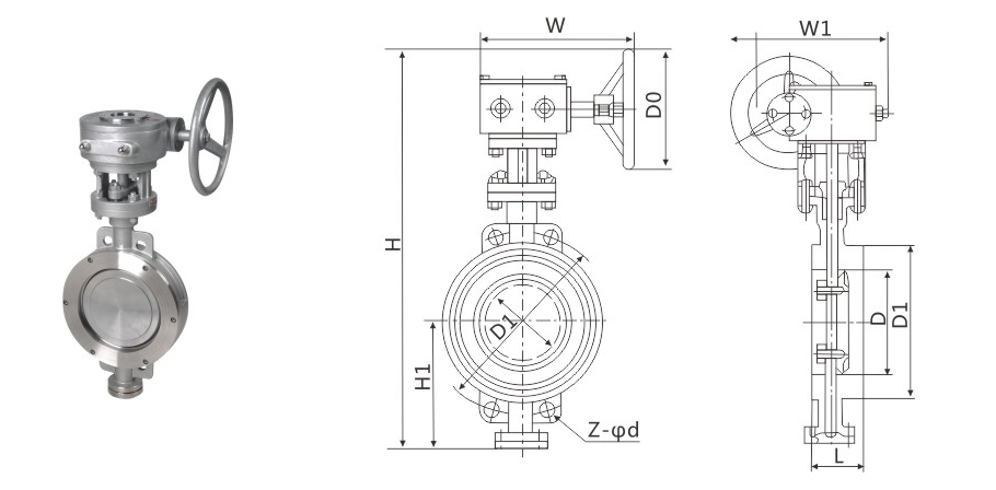 D343H Wormgear Operated Metal Seal Wafer Type Butterfly Valve