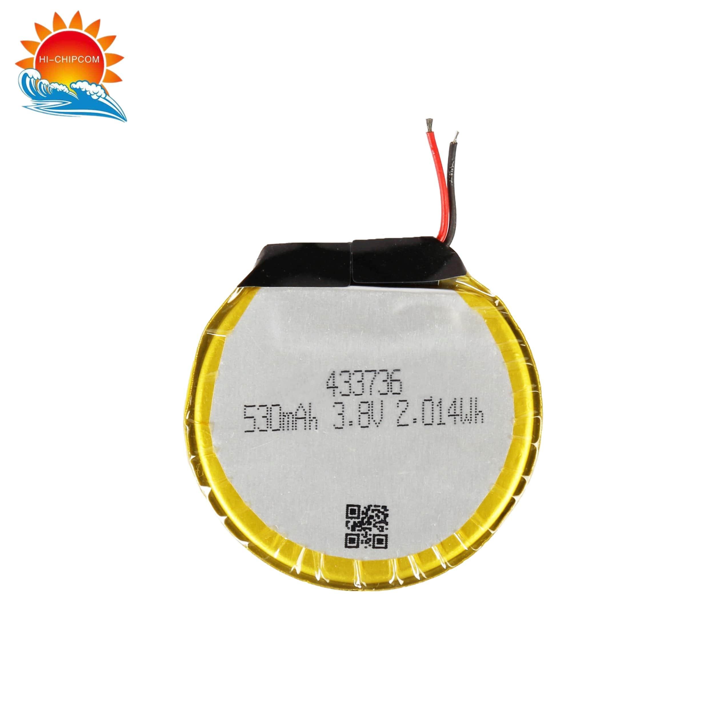 Smart Watch 530mAh Round Shaped Battery