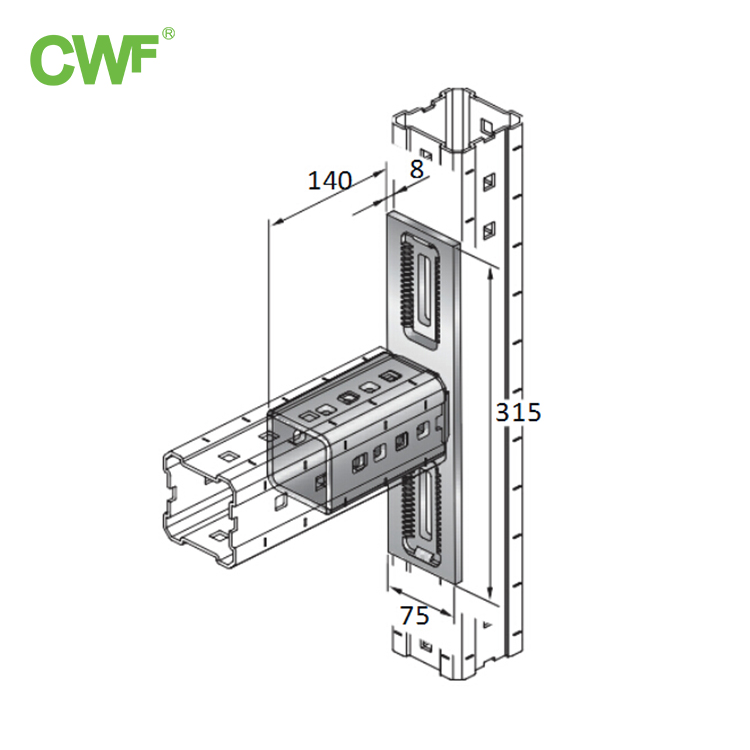 Heavy Duty Double Hole Right Angle Connector WH-S90-L