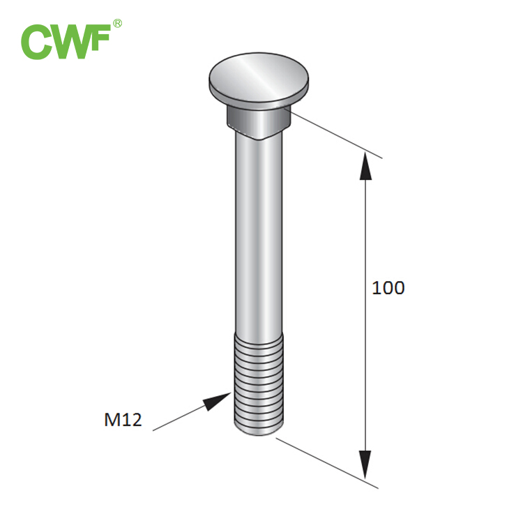 Square Neck Bolt WH-F-SN90 M12x100