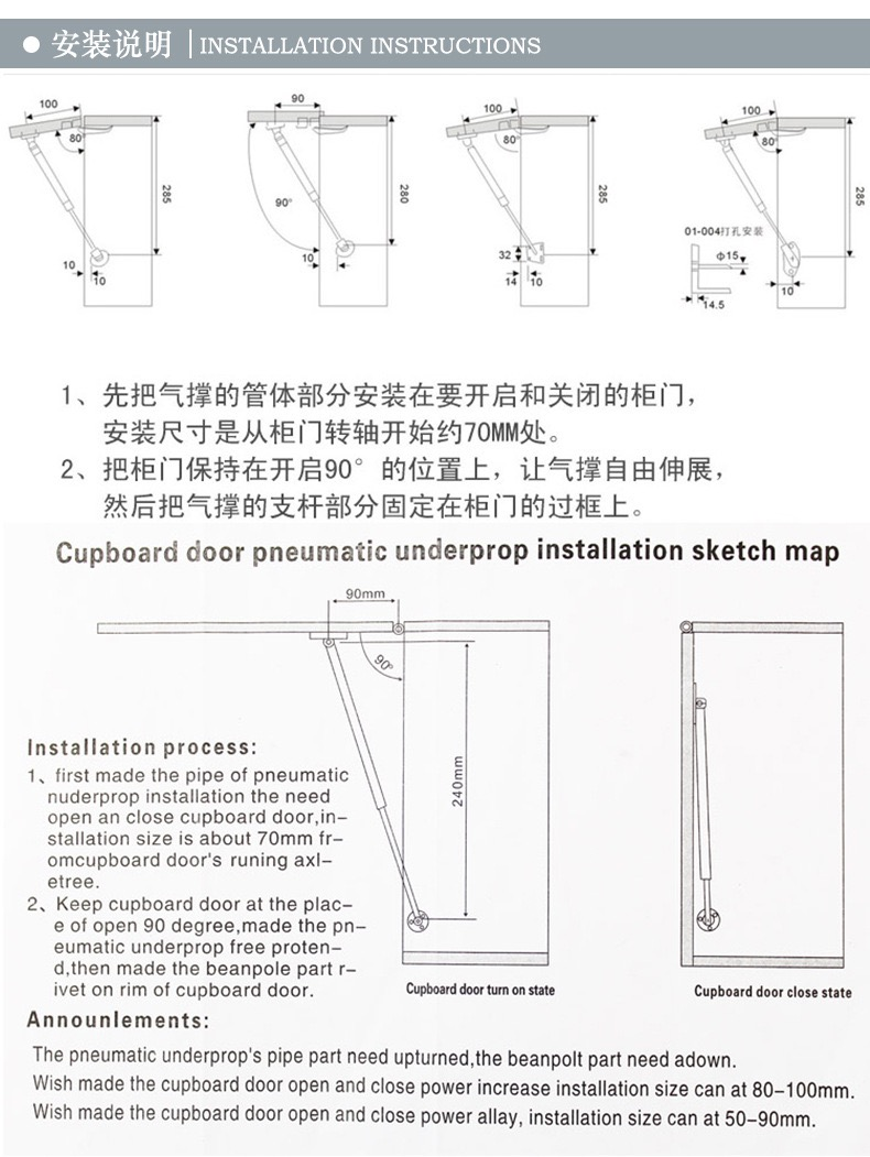 Gas Hinges For Cabinets