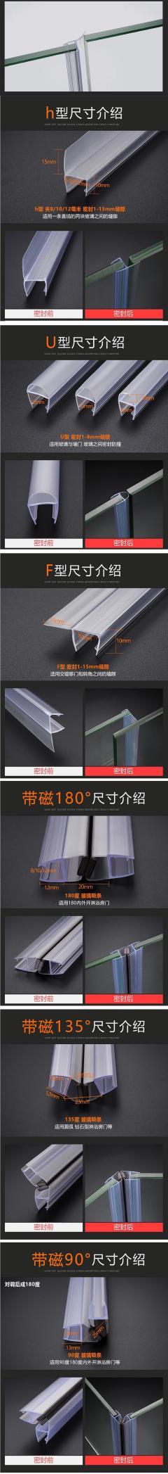 Vertical Shower Door Seal Strip